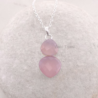 Pink Chalcedony Faceted Heart Shape - Personalized Pendant Necklace Jewelry - 925 Sterling Silver Necklace - Handmade Jewelry #7484