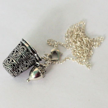 Acorn and Thimble Kisses Necklace  Peter Pan and Wendy in Sterling Silver Filigree