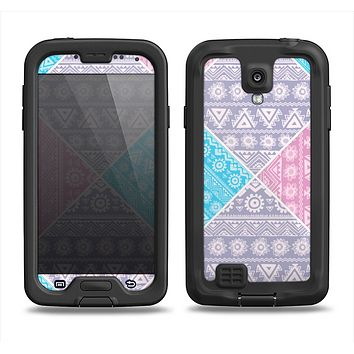 The Squared Pink & Blue Textile Patterns Samsung Galaxy S4 LifeProof Fre Case Skin Set