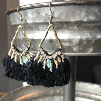 Request More Time Black Tassel Earrings