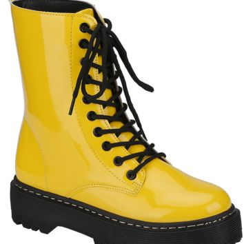 Patent Lace Up Work Boot (YELLOW)