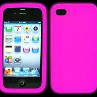 Iphone 4 GLOW IN THE DARK Case (Pink) Silicone Protective Case for iPhone 4 and 4S