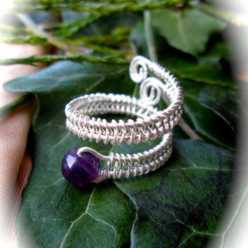Amethyst Snake Ring, Wire Wrapped Silver, Adjustable Size, Coiled Snake Shape, Boho Wicca Ring, Herringbone Spiral Pattern, Amethyst wrap
