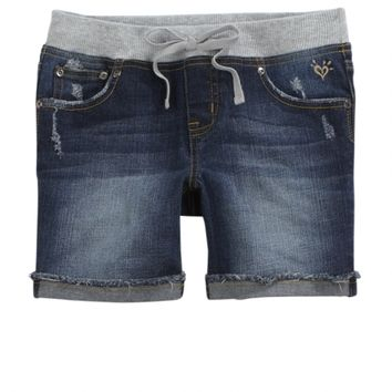 KNIT WAIST MID THIGH DENIM SHORTS | GIRLS {CATEGORY} {PARENT_CATEGORY} | SHOP JUSTICE