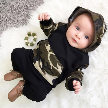 camouflage set of baby girls / Boys outfit with a hood T-Shirts Tops + Pants