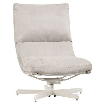 Suede Maverick Swivel Lounge Chair & Ottoman