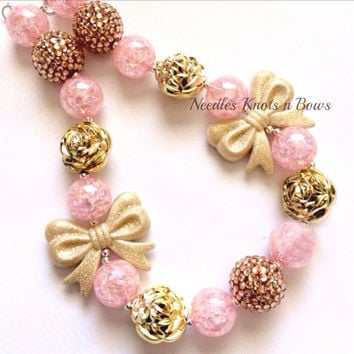 Girls Pink and Gold Chunky Bead Bubblegum Necklace, Girls Jewelry, Birthday Necklace, Girls Princess Necklace