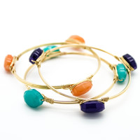 Stone wire bangle bracelet set