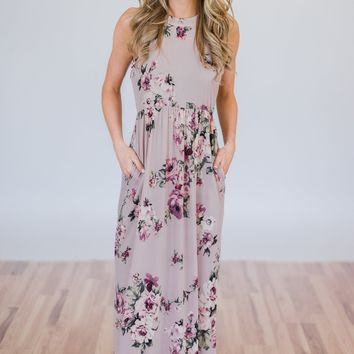 Tonight's the Night Floral Halter Maxi Dress- Light Mauve