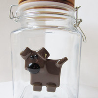 Glass jar for dog treats, dog cookie jar, fused glass dog, chocolate brown lab lover gift, kitchen decor for dog lover, rustic storage jar