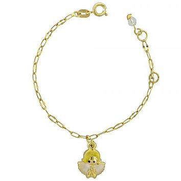 Gold Layered 03.16.0006 Charm Bracelet, Angel Design, White Enamel Finish, Gold Tone