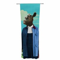 "Natt ""Family Portrait N2"" Blue Cow Decorative Sheer Curtain"