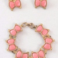 Vintage Bracelet & Clip On Earring Set Pink Bows Gold Tone  Fold Over Clasp