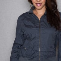 Active USA Basics Plus-Size Zip Up Long Sleeve Jacket With Snap Pockets - Charcoal