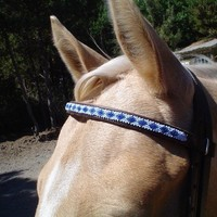 Blue Beaded Horse Headstall Bridle by RaintreeBeads on Etsy