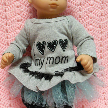 "AMERICAN girl Bitty Baby Clothes ""I LOVE!!! My Mom"" (15 inch) doll outfit top dress, leggings, booties/ socks, and headband / hair clip"