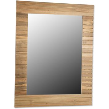 CP Stripes Wall Mirror with Teak Wood Frame for Bathroom Vanity, Bedroom