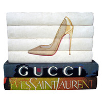 Gold Shoe and Designers Book Stack