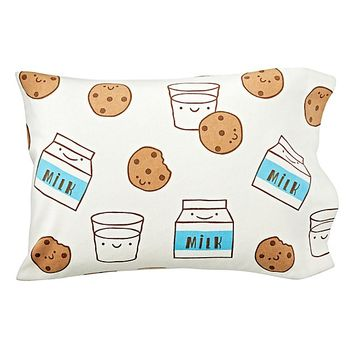 Organic Milk and Cookies Flannel Toddler Pillowcase