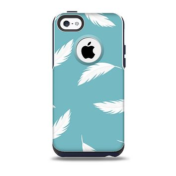 The Simple White Feathered Blue Skin for the iPhone 5c OtterBox Commuter Case