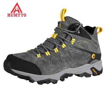 new winter hiking men Genuine Leather climbing shoes mountain boots outdoor sports breathable sneakers Waterproof trekking