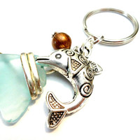 Sea Glass and Dolphin Keychain, Wire Wrapped Sea Glass, Ocean Jewelry