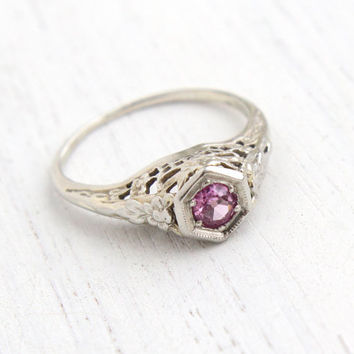 Antique 18k White Gold Pink Sapphire Ring - Vintage Art Deco Size 6 1/2 Filigree 1920s Fine Pink Ice Jewelry