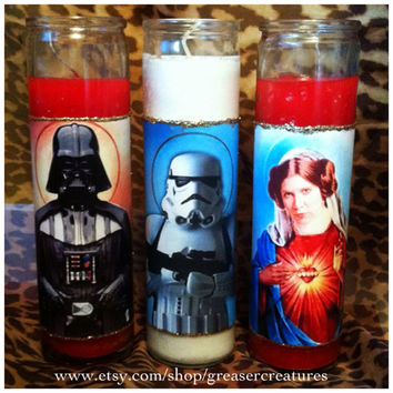 Star Wars Prayer Candles, complete set. Darth Vader, Stormtrooper , Princess Leia