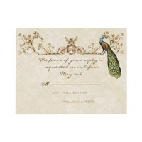 Vintage Peacock & Etchings Wedding RSVP Card Custom Invitations from Zazzle.com