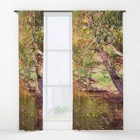 Autumn At Hickory Ridge Pond Window Curtains by Theresa Campbell D'August Art