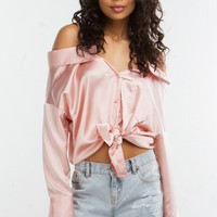 Off The Shoulder Satin Top in Pink