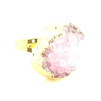 Rose Pink Druzy Crystal Ring Adjustable Geode Cocktail Statement RL06 Fashion Jewelry