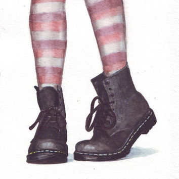 HM076 Original art watercolor painting Dr Martins boots by Helga McLeod