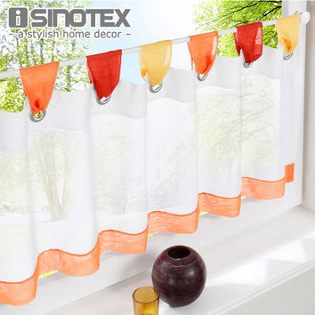 Curtain for the Kitchen Fashion Cafe Embroidered 100% Polyester Pastoral Style Small Cafe Curtain Various Sizes Tab Top 1 PCS