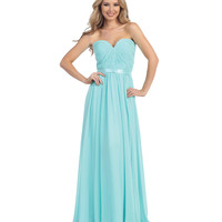 Aqua Ruched Sweetheart Strapless Chiffon Gown 2015 Prom Dresses