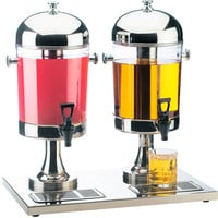 22W x 14D x 23H Dual Stainless Steel Beverage Dispenser 2 Gallon Each