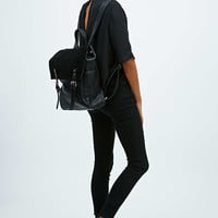 Deena & Ozzy Suede Panel Backpack in Black - Urban Outfitters
