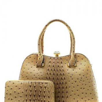 Croc Ostritch Gemstone Satchel