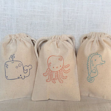 """15 Under The Sea party favor bags 4"""" by 6"""" made of Organic Cotton - you choose ink color(s)"""