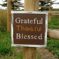 "Thanksgiving Themed Wood Sign ""Grateful, Thankful, Blessed"""