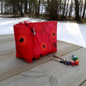 Cosmetic bag made from Marimekko oil cloth fabric Unikko, makeup toiletry bag, zipper travel box pouch, make up purse case, floral red