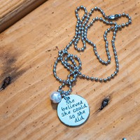 Antique Silver-plated Inspirational Charm Necklace