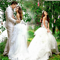 Beautiful White Strapless Ruffle Princess Formal Wedding Bridal Gowns SKU-118136