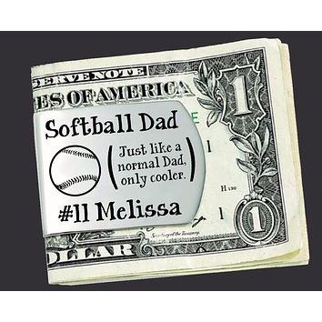Softball Dad Personalized Money Clip