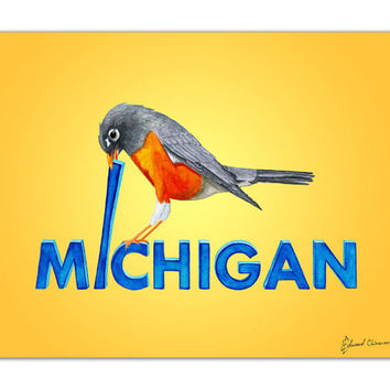 "Michigan State Bird Art Print | Robin Mistakes a Letter ""i"" for a Worm 