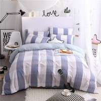 Simple European Coffee Color + Orange Plaid Pattern Polyester Soft Bedding Set 4pc/3pc  Bedlinen Double Single Queen King Size