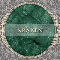 KRAKEN Mineral Eyeshadow: 5g Sifter Jar, Dark Cool Green, VEGAN Cosmetics, Shimmer Eye Shadow