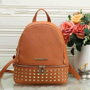 ESBONPR High Quality Michael Kors Unisex Leather Zipper Rivets Backpack