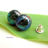 Eyes of the Forest Handmade Fused Dichroic Glass Post Earrings