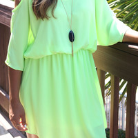 Key West Lime Green Open Shoulder Dress